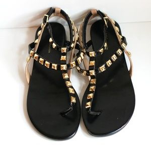 BCBGeneration Strappy Studded Tan & Black Sandals